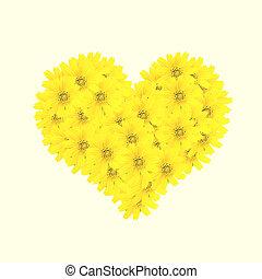 hjärta, stil, gammal, årgång, retro blommar