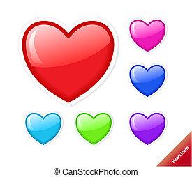 hjärta, stil, sätta, aqua, olik, icons., vektor, färger, size., några