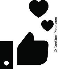 hjärta, stil, tumme, enkel, uppe, ikon