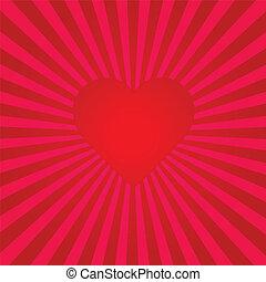 hjärta, sunburst, röd