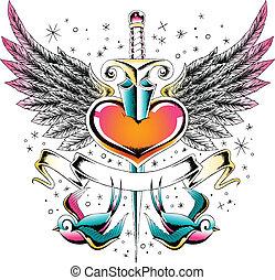 hjärta, svälja, emblem, vinge
