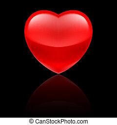 hjärta, svart, glatt, röd