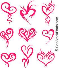 hjärta, symbol, design