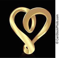 hjärta, symbol, guld, logo