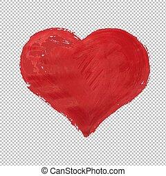 hjärta, symbol, isolerat, röd