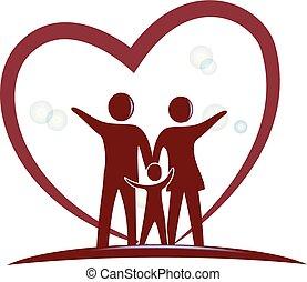 hjärta, symbol, kärlek, familj, logo