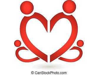 hjärta, symbol, logo, familj, vektor