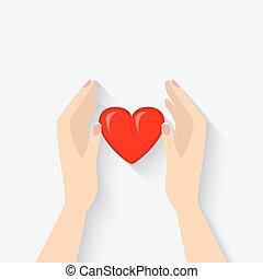 hjärta, symbol, räcker