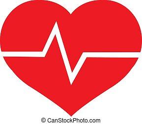 hjärta, symbol, röd