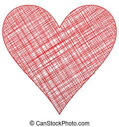 hjärta, symbol, teckning, röd