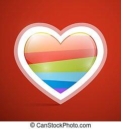 hjärta, symbol, vektor