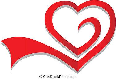 hjärta, symbol, vektor, logo