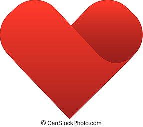 hjärta, symbol, vektor, röd