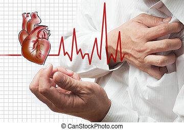 hjärta, taktslagen, angrepp, bakgrund, kardiogram