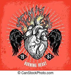 hjärta, tatuera, brännande, affisch
