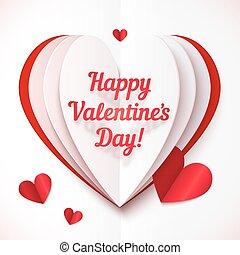 hjärta, text, valentinkort, hoplagd, papper, dag, lycklig