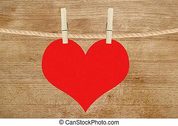 hjärta, trä, över, hänga, bakgrund, röd, klädnypor