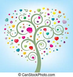 hjärta, träd, blommig