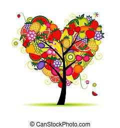 hjärta, träd, din, frukt, design, energi, form