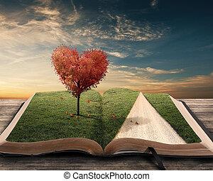 hjärta, träd, och, bok