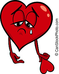 hjärta, trist, tecknad film, illustration, bruten