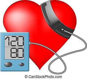 hjärta, tryck, -, övervaka, blod
