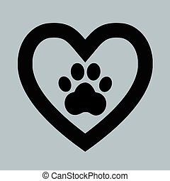 hjärta, underteckna, ikon, hund, tass
