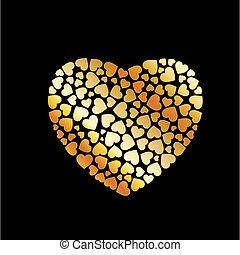 hjärta, utfyllnader, guld