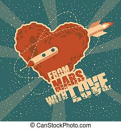 hjärta, utrymme, årgång, hälsning, form, mars, kort