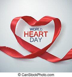 hjärta, värld, dag, bakgrund.