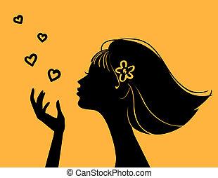 hjärta, vacker kvinna, silhuett