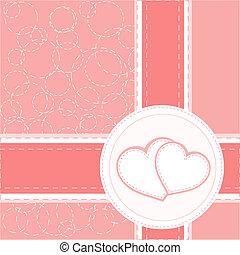 hjärta, valentinbrev, vektor, bakgrund, bröllop, kort