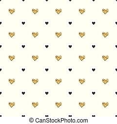 hjärta, valentinkort, illustration., guld, mönster, shapes., seamless, day., bakgrund., vektor, svart