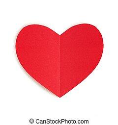 hjärta, valentinkort, isolerat, papper, dag, röd
