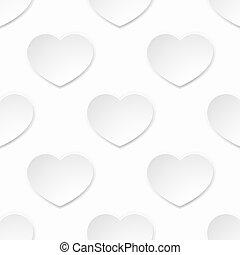 hjärta, valentinkort, seamless, papper, bakgrund, vit