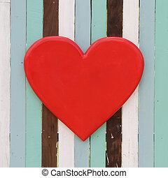 hjärta, ved, retro, bakgrund, röd