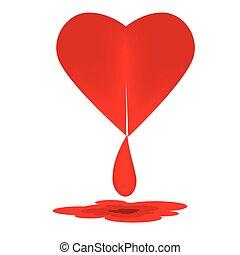 hjärta, vektor, blod