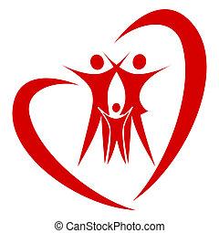 hjärta, vektor, familj