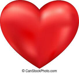 hjärta, vektor, glänsande, 3