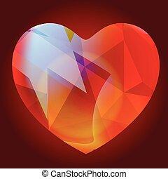 hjärta, vektor, glasaktig, glänsande