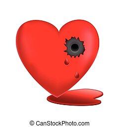 hjärta, vektor, glasaktig, illustration