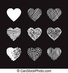hjärta, vektor, hand, oavgjord