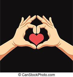 hjärta, vektor, illustration