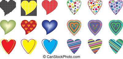hjärta, vektor, kollektion