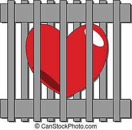 hjärta, vektor, låsa