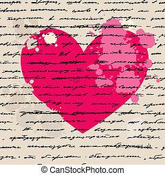 hjärta, vektor, love., illustration., ba