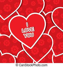 hjärta, vektor, mönster, valentinbrev