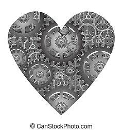 hjärta, vektor, -, mekanisk