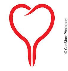hjärta, vektor, röd