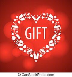 hjärta, vektor, röd fond, logo